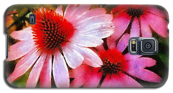 Galaxy S5 Case featuring the photograph Pink Coneflowers - Think Pink  by Janine Riley