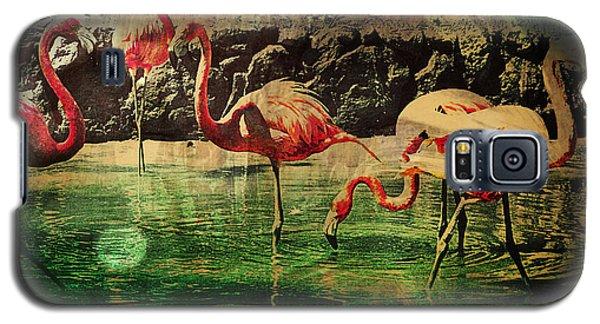 Galaxy S5 Case featuring the digital art Pink Flamingos - Shangri-la by Absinthe Art By Michelle LeAnn Scott