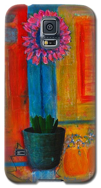 Galaxy S5 Case featuring the painting Pink Flower by Patricia Januszkiewicz