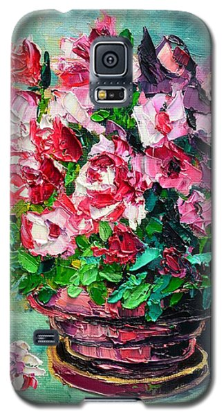 Galaxy S5 Case featuring the painting Pink Flowers by Ana Maria Edulescu