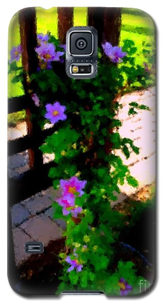 Galaxy S5 Case featuring the photograph Pink Flowers In Wooden Trellis 1 by Becky Lupe