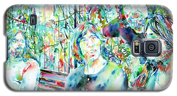 Pink Floyd At The Park Watercolor Portrait Galaxy S5 Case by Fabrizio Cassetta