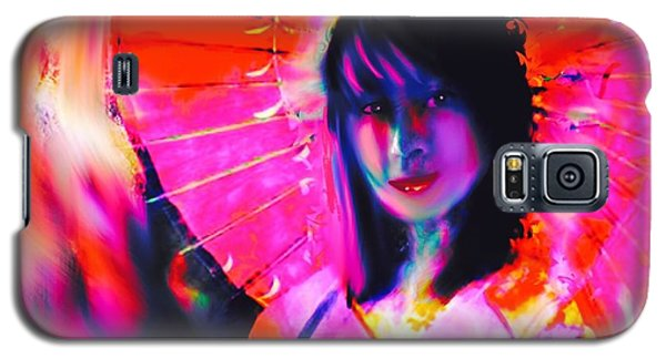 Galaxy S5 Case featuring the digital art Pink Giesha by Diana Riukas
