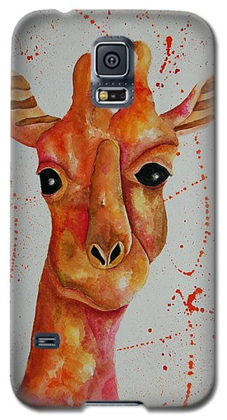 Galaxy S5 Case featuring the painting Pink Giraffe  by Tamyra Crossley