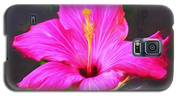 Pink Hibiscus Digital Painting In Oil Galaxy S5 Case