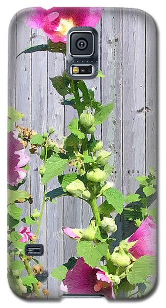 Galaxy S5 Case featuring the painting Pink Hollyhocks by Doug Kreuger