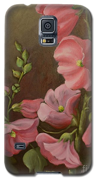 Galaxy S5 Case featuring the painting Pink Holyhock by Marta Styk