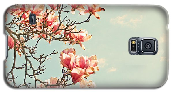 Galaxy S5 Case featuring the photograph Pink Magnolia Flowers Against Blue Sky by Brooke T Ryan