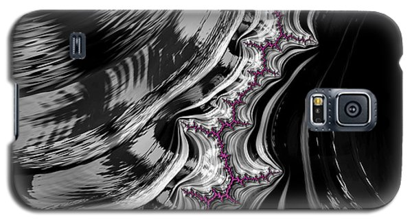 Pink On Black And White Fractal Abstract Galaxy S5 Case