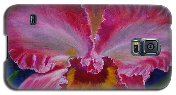 Galaxy S5 Case featuring the painting Pink Orchid by Jenny Lee