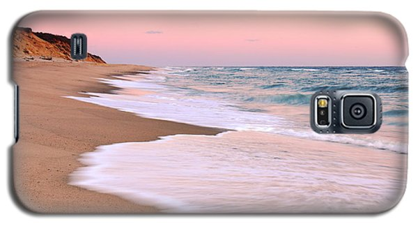 Galaxy S5 Case featuring the photograph Pink Pastel Beach And Sky by Roupen  Baker