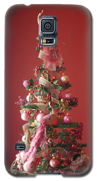 Galaxy S5 Case featuring the photograph Pink Peacock Christmas Tree by Suzanne Powers