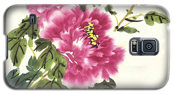 Galaxy S5 Case featuring the painting Pink Peonies by Yolanda Koh