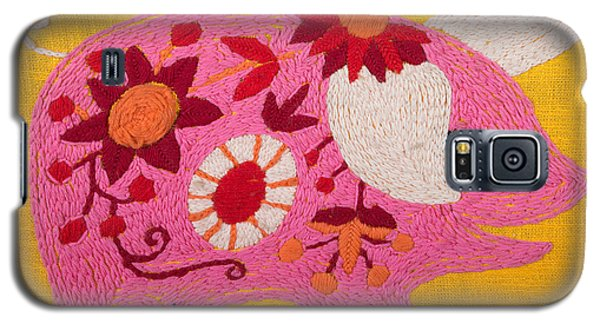 Galaxy S5 Case featuring the painting Pink Piggy by Izabella West