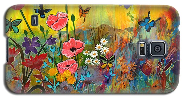 Galaxy S5 Case featuring the painting Pink Poppies In Paradise by Robin Maria Pedrero