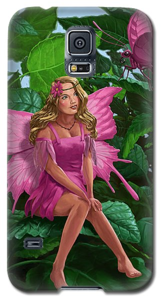 Pink Pretty Fairy On Leaf With Pink Butterfly Galaxy S5 Case