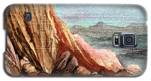 Galaxy S5 Case featuring the painting Pink Rocks by Mikhail Savchenko