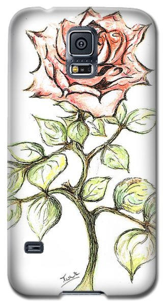 Pink Rose Galaxy S5 Case by Teresa White