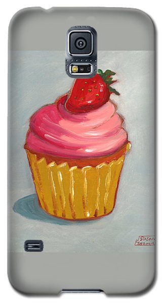 Galaxy S5 Case featuring the painting Pink Strawberry Cupcake by Susan Thomas