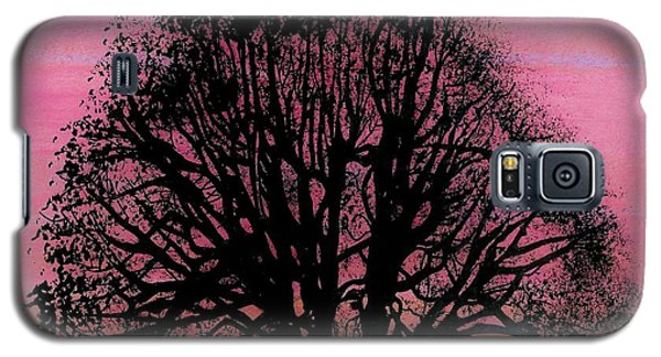 Galaxy S5 Case featuring the drawing Pink Sunset Tree by D Hackett