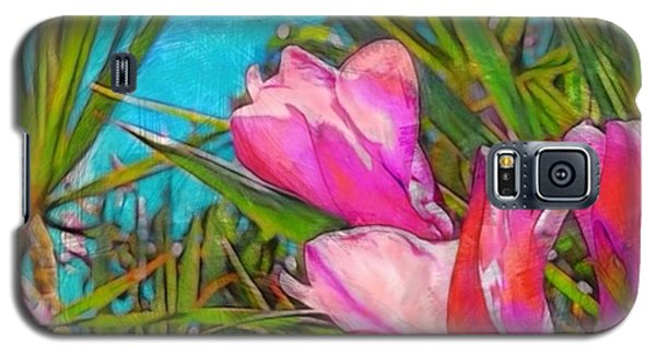 Pink Tropical Flower With Honeybee - Square Galaxy S5 Case