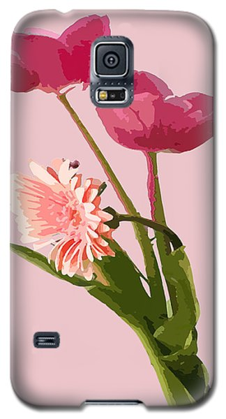 Pink Tulips And Daisy Galaxy S5 Case by Karen Nicholson