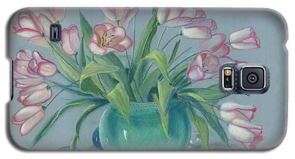 Galaxy S5 Case featuring the painting Pink Tulips In Green Vase by Dan Redmon