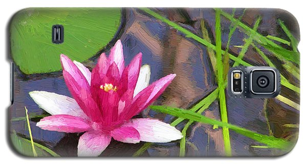 Galaxy S5 Case featuring the painting Pink Water Lily by Doug Kreuger