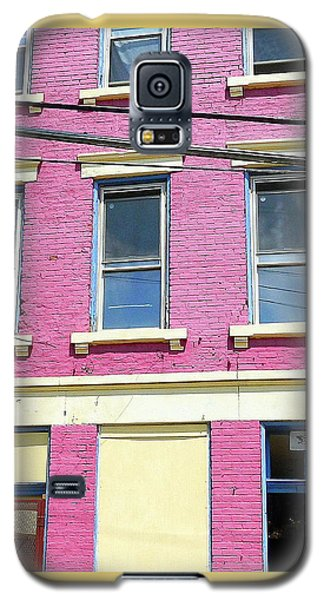 Galaxy S5 Case featuring the photograph Pink Yellow Blue Building by Kathy Barney