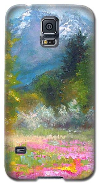 Pioneer Peaking - Flowers And Mountain In Alaska Galaxy S5 Case