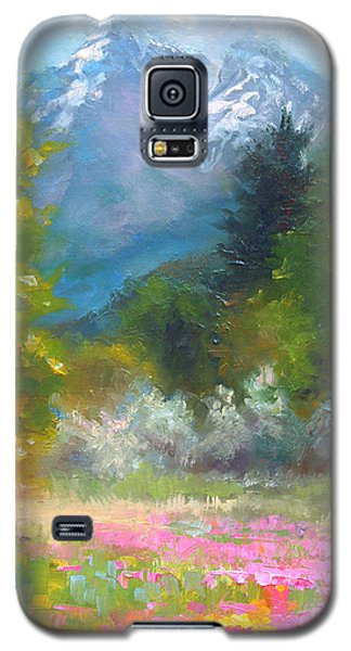Pioneer Peaking - Flowers And Mountain In Alaska Galaxy S5 Case
