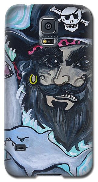 Galaxy S5 Case featuring the painting Pirate Shark Tank by Leslie Manley