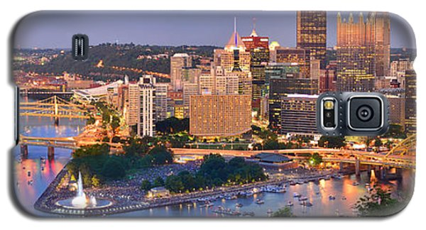 Pittsburgh Pennsylvania Skyline At Dusk Sunset Panorama Galaxy S5 Case