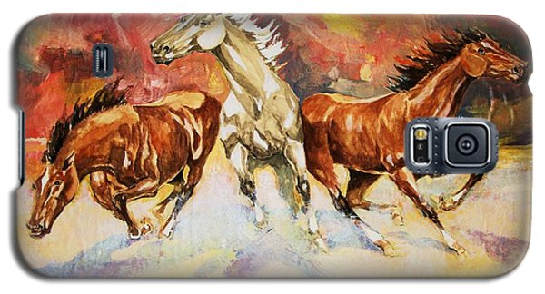 Galaxy S5 Case featuring the painting Plains Thunder by Al Brown
