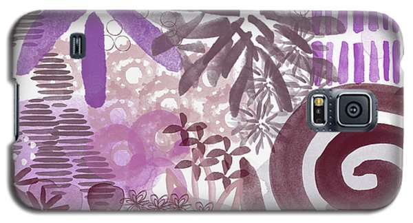Plum And Grey Garden- Abstract Flower Painting Galaxy S5 Case