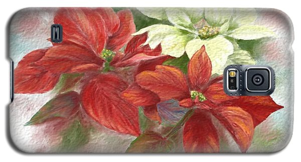 Galaxy S5 Case featuring the painting Poinsettias For The Winter Holidays by Judy Filarecki