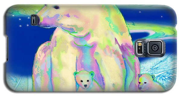 Galaxy S5 Case featuring the painting Polar Bear Aurora by Teresa Ascone