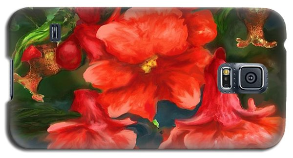 Pomegranate Blooms Floral Painting Galaxy S5 Case by Judy Filarecki