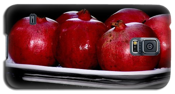 Galaxy S5 Case featuring the photograph Pomegranates On White Platter by Tanya  Searcy