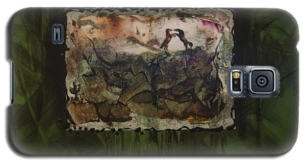 Galaxy S5 Case featuring the painting Ponies by Ron Richard Baviello
