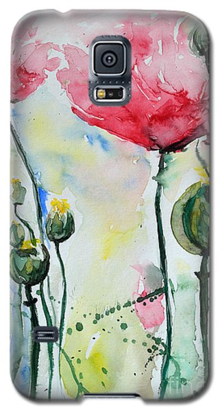 Galaxy S5 Case featuring the painting Poppies by Ismeta Gruenwald