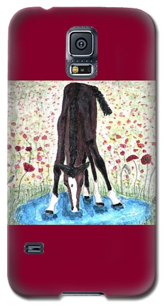 Galaxy S5 Case featuring the painting Poppies N  Puddles by Angela Davies