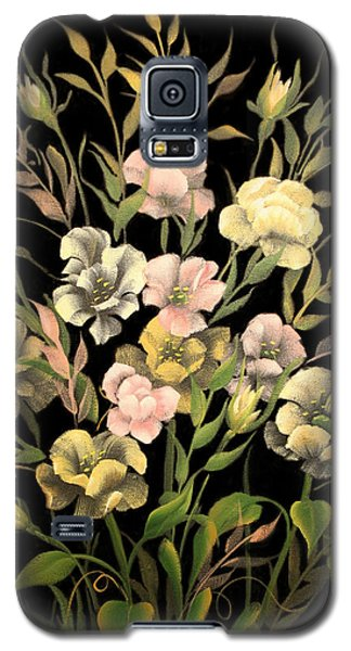 Poppies On Black Canvas Galaxy S5 Case