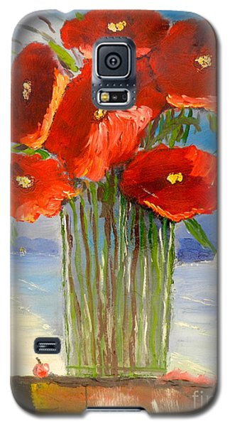 Galaxy S5 Case featuring the painting Poppies On The Window Ledge by Pamela  Meredith