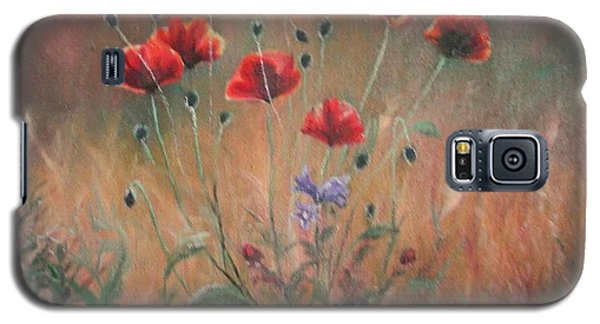 Galaxy S5 Case featuring the painting Poppies by Sorin Apostolescu