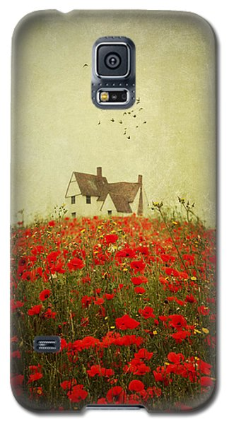Poppy Field Wth Vintage Textures Galaxy S5 Case