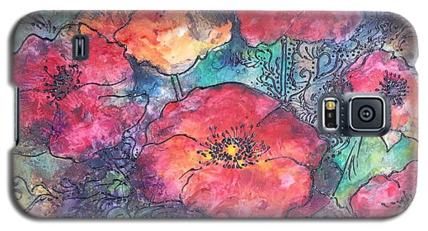 Galaxy S5 Case featuring the painting Poppy Flower Splash Of Spring by Christy  Freeman