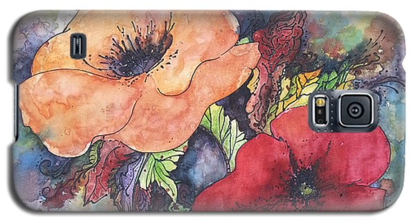 Galaxy S5 Case featuring the painting Poppy Flowers Orange And Red by Christy  Freeman