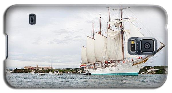 Juan Sebastian De Elcano Famous Tall Ship Of Spanish Navy Visits Port Mahon In Front Of Bloody Islan Galaxy S5 Case