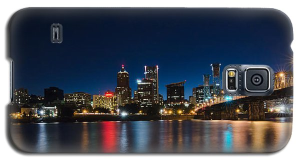 Galaxy S5 Case featuring the photograph Portland Oregon Nightscape by Don Schwartz